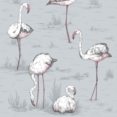 Papier peint - Cole and Son - Flamingos - gris lilas
