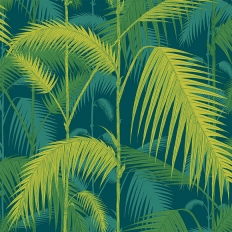 Papier peint - Cole and Son - Palm Jungle - Jaune citron et bleu pétrole