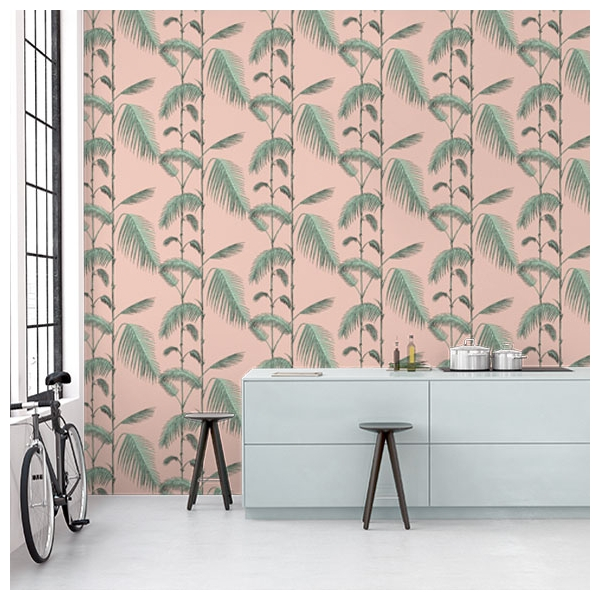 papier peint palm leaves rose et vert collection icons. Black Bedroom Furniture Sets. Home Design Ideas