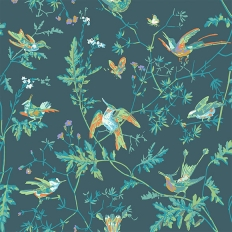 Papier peint - Cole and Son - Hummingbirds - vert, bleu et orange