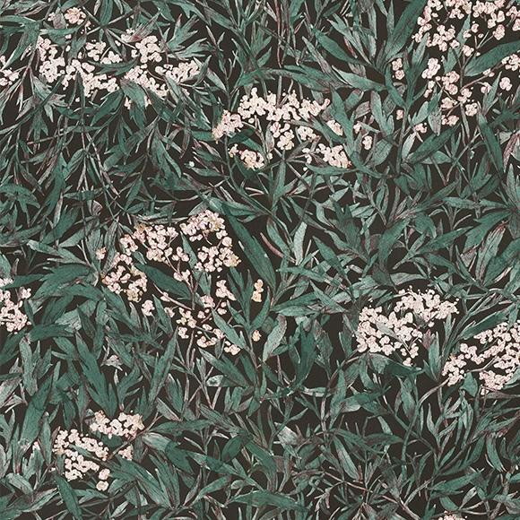 Papier peint fleuri Malin noir, vert foncé et rose - Collection OAS ...