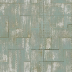 Papier peint - Elitis - Khan - Turquoise et doré