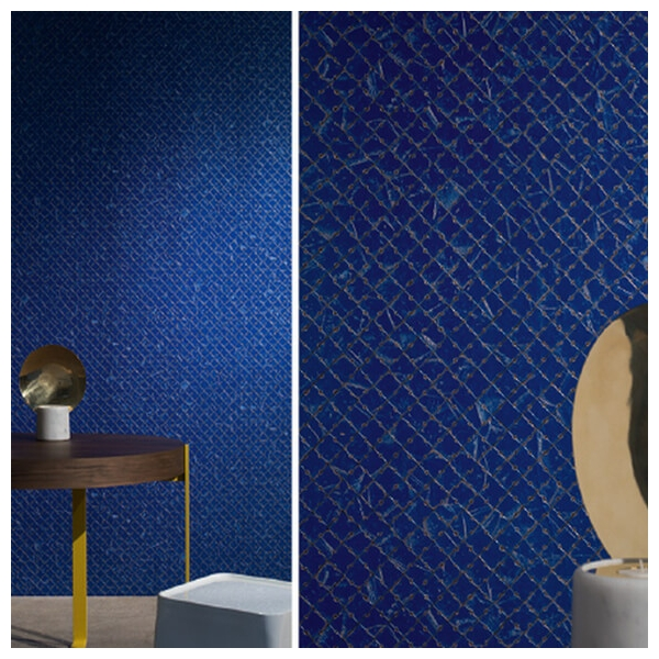 papier peint mayana bleu marine brun et cuivre. Black Bedroom Furniture Sets. Home Design Ideas