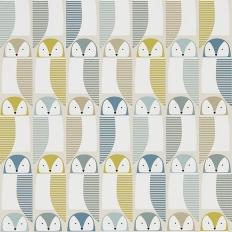 Papier peint - Scion - Barnie Owl - Bleu, chanvre et glacier