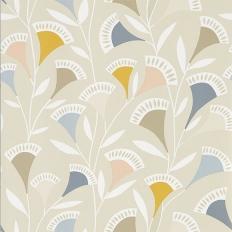Papier peint - Scion - Noukku - rose pâle, gris, bleu foncé et fond beige clair