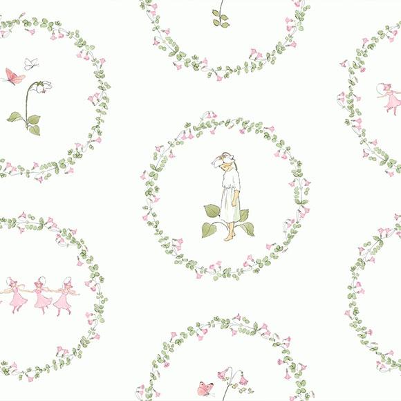 Papier peint - Boråstapeter - Pyrola - Vert et rose