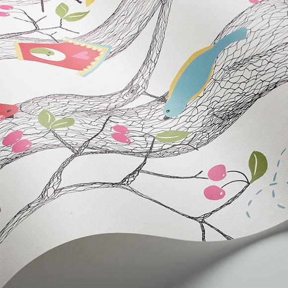 Papier peint - Boråstapeter - Cherry Friends - Vert et rouge