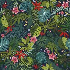 Papier peint - Coordonné - Paraísos artificiales - Vert foncé