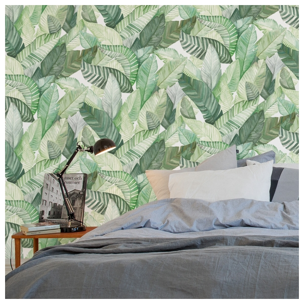 papier peint banano vert et blanc collection anima de coordonn. Black Bedroom Furniture Sets. Home Design Ideas