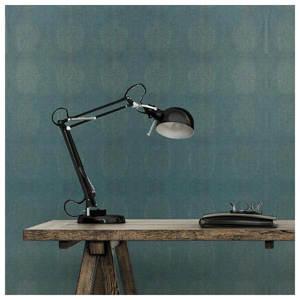 papier peint kissimmee bleu paon collection faux. Black Bedroom Furniture Sets. Home Design Ideas