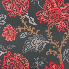 Papier peint - Nina Campbell - Coromandel - Bleu et rouge