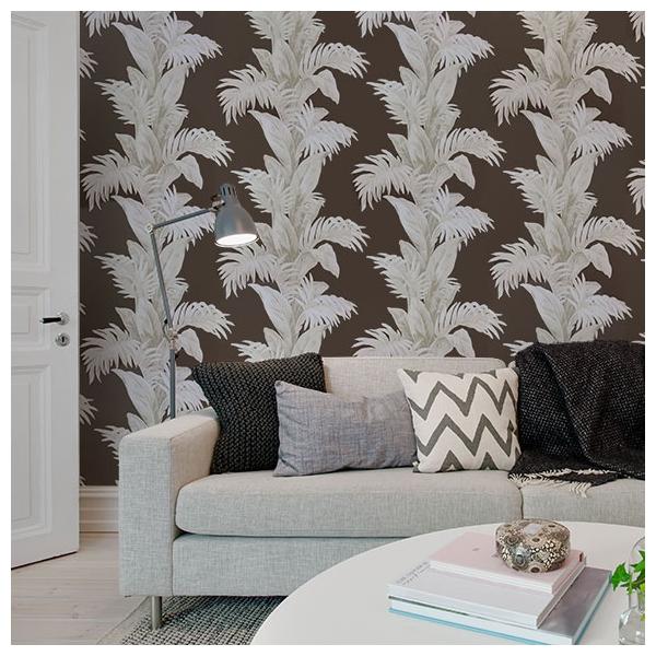 papier peint palmetto chocolat blanc et gris pierre collection coromandel nina campbell. Black Bedroom Furniture Sets. Home Design Ideas
