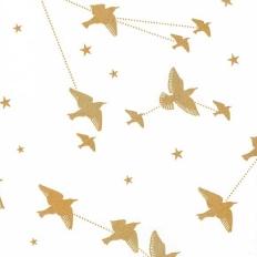 Papier peint - Mini Moderns - Star-ling - blanc neige et doré