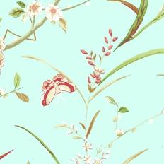 Papier peint - Thibaut - Cantonese - Aqua