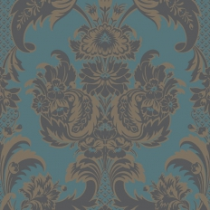 Papier peint - Cole and Son - Wyndham - Teal & Charcoal