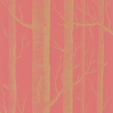 Papier peint - Cole and Son - Woods - Pink & Gold