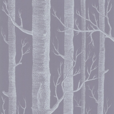 Papier peint - Cole and Son - Woods - Lavender Grey & White