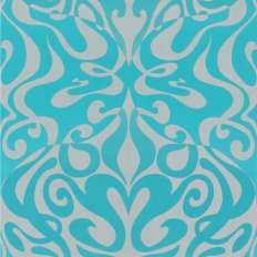 Papier peint - Cole and Son - Woodstock  - Turquoise & Silver