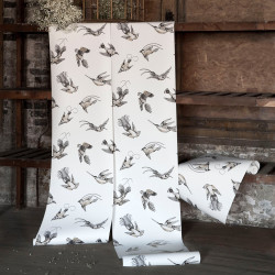Papier peint - Cole and Son - Tropical Birds - Stone and Silver