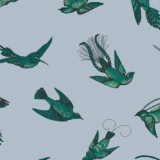 Papier peint - Cole and Son - Tropical Birds - Sky Blue and Emerald
