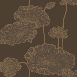 Papier peint - Cole and Son - Water Lily - Brown and Gold