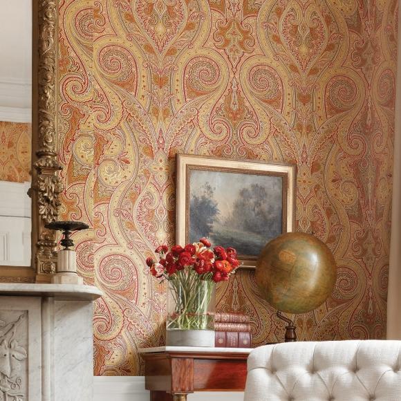 papier peint oriental vert patani thibaut au fil des couleurs. Black Bedroom Furniture Sets. Home Design Ideas