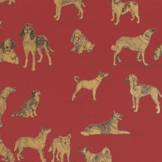 Papier peint - Thibaut - Best Friend - Red with Metallic Gold
