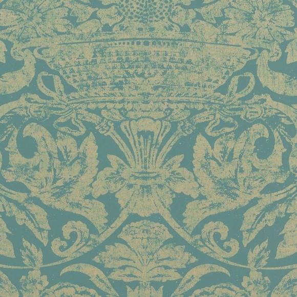 papier peint classiques intemporels bleu cadiz thibaut au fil des couleurs. Black Bedroom Furniture Sets. Home Design Ideas