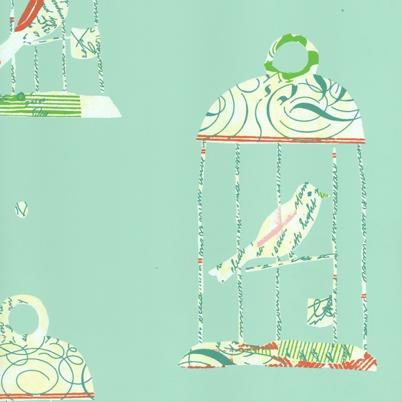 Papier peint enfants bleu tweety thibaut au fil des - Au fil des couleurs papiers peints ...