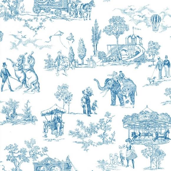 Papier peint classiques anglais et fran ais bleu carnival thibaut au fil - Papier peint motif anglais ...