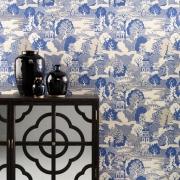 Papier peint - Osborne & Little - Summer Palace - bleu