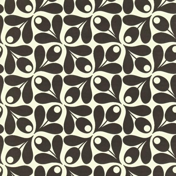 Papier peint noir et blanc small acorn spot de orla kiely - Papier peint noir et argent ...