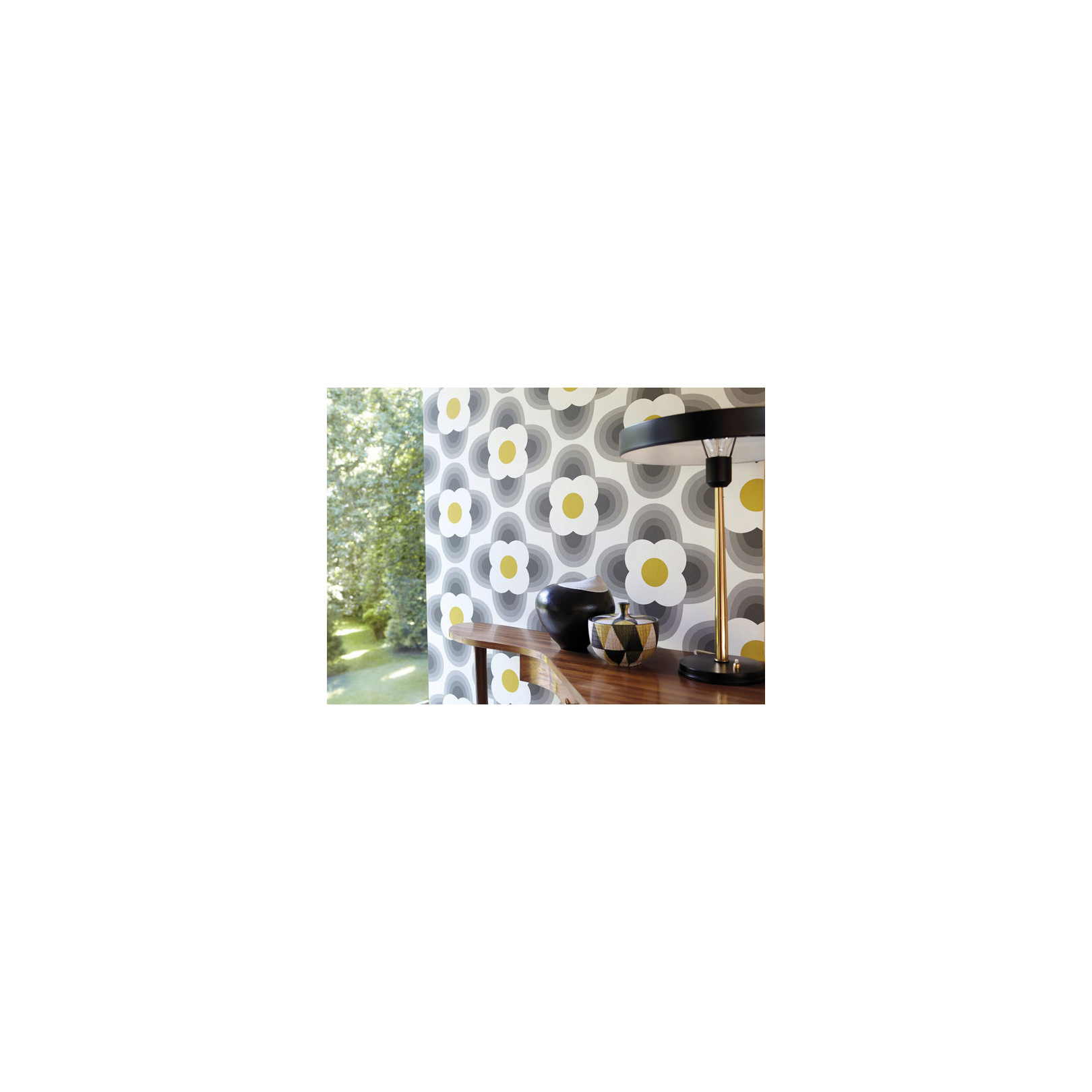 papier peint vintage vert d 39 eau striped petal de orla kiely. Black Bedroom Furniture Sets. Home Design Ideas