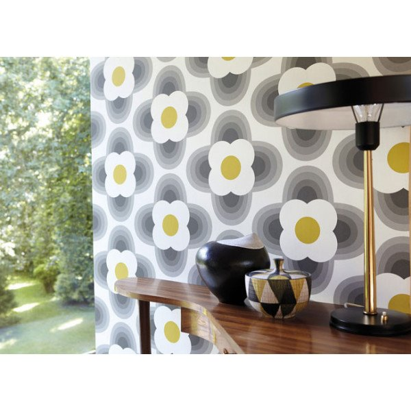 papier peint vintage jaune striped petal de orla kiely. Black Bedroom Furniture Sets. Home Design Ideas