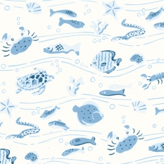 Papier peint - Thibaut - Something Fishy - White