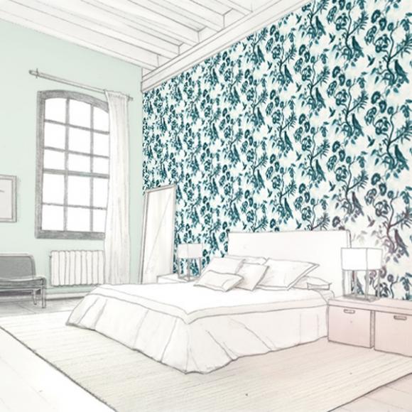 Papier Peint Oiseaux Bleu The Tea House Paper Tapet Cafe Au Fil Des Couleurs