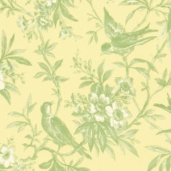 Papier peint - Thibaut - Chelsea Morning Toile - Green on Yellow