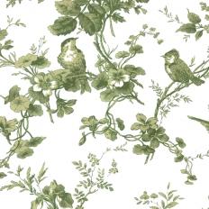 Papier peint - Thibaut - Isabelle - Green on White