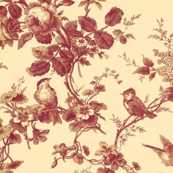papier peint oiseaux bordeaux isabelle thibaut au fil. Black Bedroom Furniture Sets. Home Design Ideas