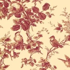 Papier peint - Thibaut - Isabelle - Red on Cream