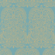 Papier peint - Cole and Son - Alpana  - Turquoise & Gold