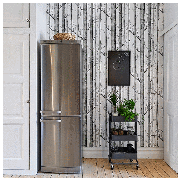 papier peint woods avec des arbres noirs. Black Bedroom Furniture Sets. Home Design Ideas