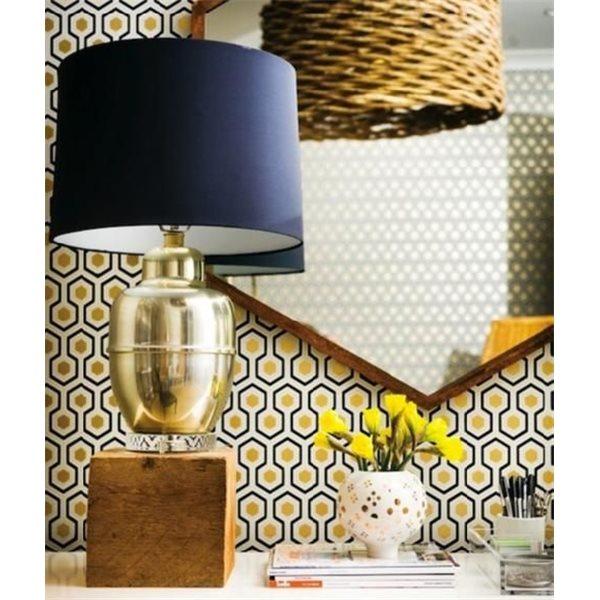papier peint dorée et noir - hick's hexagon