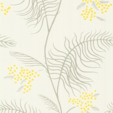 Papier peint - Cole and Son - Mimosa - White Grey & Yellow
