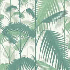 Papier peint - Cole and Son - Palm Jungle - Forest & white