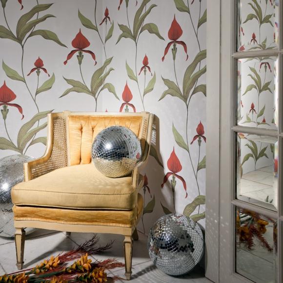 papier peint rouge nature orchid cole and son au fil des couleurs. Black Bedroom Furniture Sets. Home Design Ideas