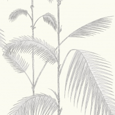 Papier peint - Cole and Son - Palm - Soft Grey & White