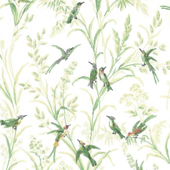 Papier peint oiseaux taupe augustine thibaut au fil - Au fil des couleurs papiers peints ...