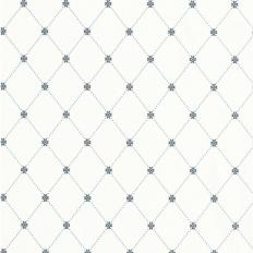 Papier peint - Thibaut - Wilton Trellis - Blue and White