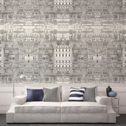 Décor mural - Cole and Son - Riflesso - Taupe Black & Gold